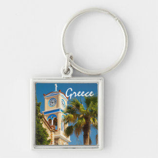 Greece - Orthodox Greek Church with Palm Tree Silver-Colored Square Keychain