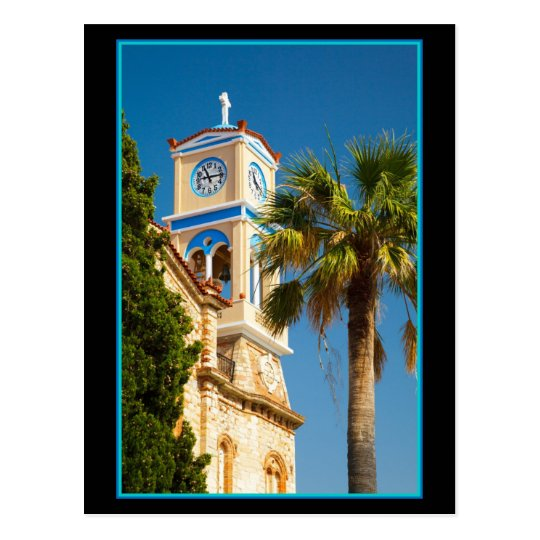 Greece - Orthodox Greek Church with Palm Tree Postcard