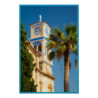Greece - Orthodox Greek Church with Palm Tree Poster