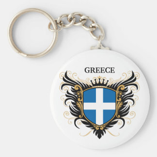 Greece [personalize] basic round button key ring