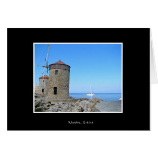 Greece Rhodos Windmills Holliday Vacation Card