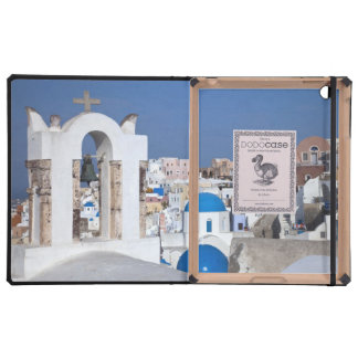 Greece, Santorini. Bell tower and blue domes of 2 Covers For iPad