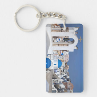 Greece, Santorini. Bell tower and blue domes of 2 Double-Sided Rectangular Acrylic Key Ring