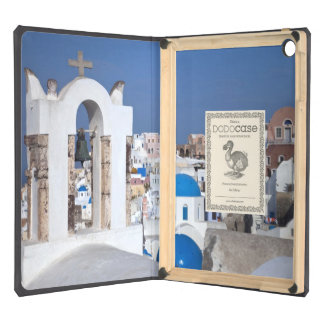 Greece, Santorini. Bell tower and blue domes of 2 iPad Air Covers