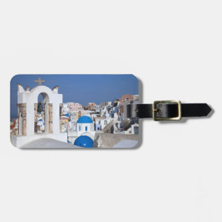 Greece, Santorini. Bell tower and blue domes of 2 Luggage Tag