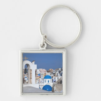 Greece, Santorini. Bell tower and blue domes of 2 Silver-Colored Square Key Ring