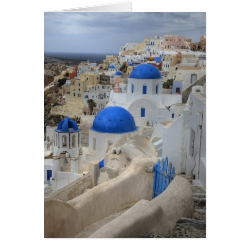 Greece, Santorini. Bell tower and blue domes of 3 Cards