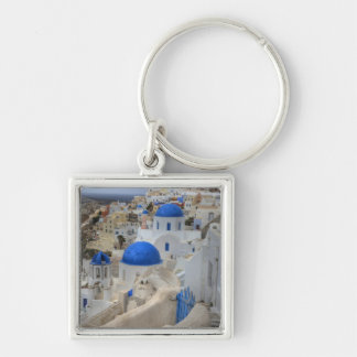 Greece, Santorini. Bell tower and blue domes of 3 Silver-Colored Square Key Ring