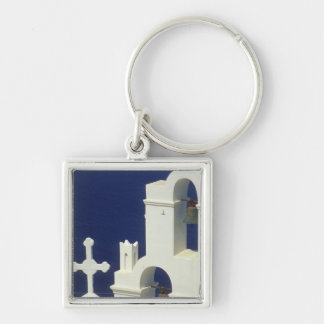 Greece, Santorini. View of a Greek church and Silver-Colored Square Key Ring