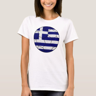 Greece Soccer Ball Ladies Baby Doll T-Shirt