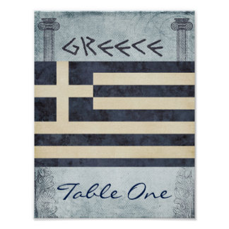 Greece Table Number Poster
