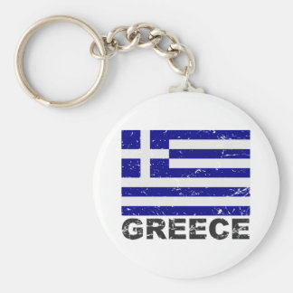 Greece Vintage Flag Basic Round Button Key Ring