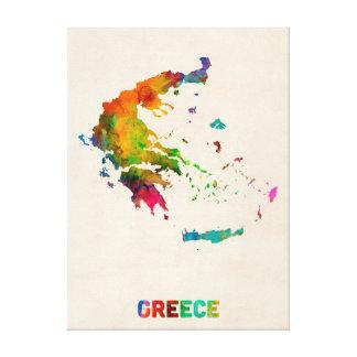 Greece Watercolor Map Canvas Prints