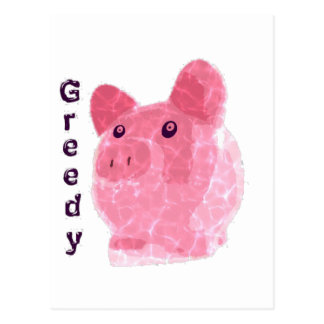 greedy pig postcard