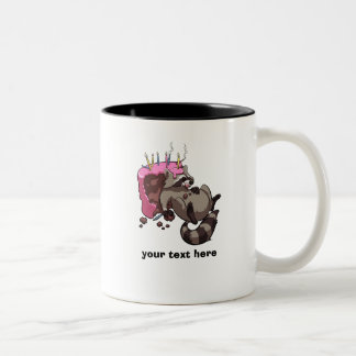 Greedy Raccoon Cake Thief Cartoon With Caption Two-Tone Coffee Mug