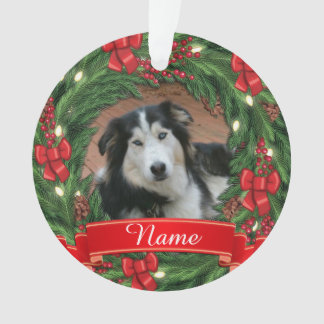 Greeen Wreath with a Red Scroll Pet Memorial Ornament
