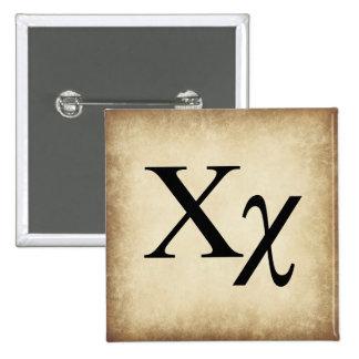 Greek Alphabet Letter Chi 15 Cm Square Badge