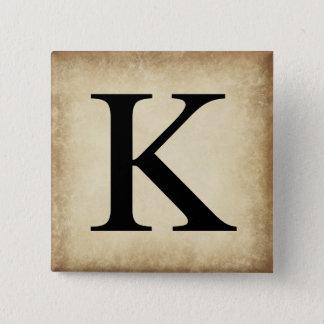 Greek Alphabet Letter Kappa 15 Cm Square Badge