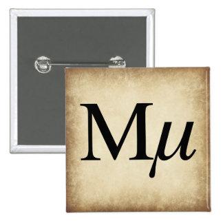 Greek Alphabet Letter Mu 15 Cm Square Badge