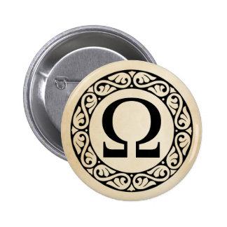 Greek Alphabet Letter Omega 6 Cm Round Badge
