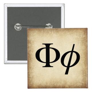 Greek Alphabet Letter Phi 15 Cm Square Badge