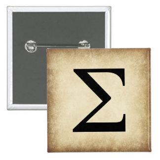 Greek Alphabet Letter Sigma 15 Cm Square Badge
