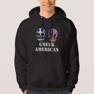 Greek American Flag Skulls Hoodie