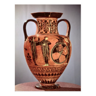 Greek black-figure amphora postcard