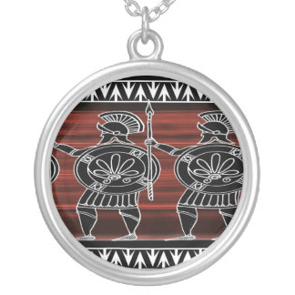 Greek Black Figure Guard Silver Plated Necklace