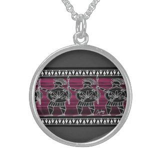 Greek Black Figure Guard Sterling Silver Necklace
