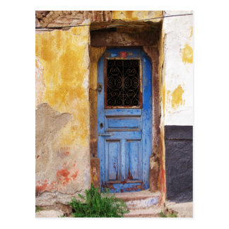 Greek Blue Door - Crete Postcard