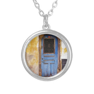 Greek Blue door in CRETE, Greece Silver Plated Necklace