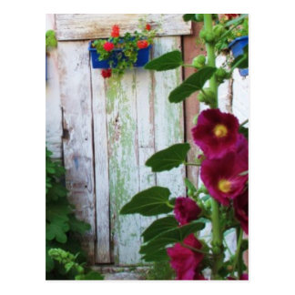 Greek Blue Door in Flower Garden in Greece Postcard