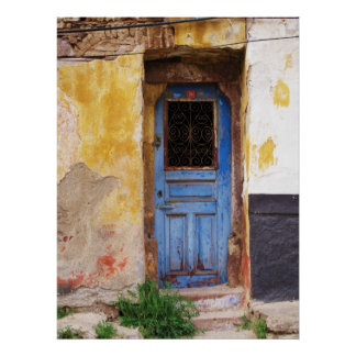 Greek Blue Door in Greece Poster