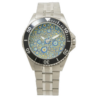 Greek Blue Glass Evil Eye Amulet Pattern Watch