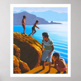 Greek Boys on the Rocks Poster