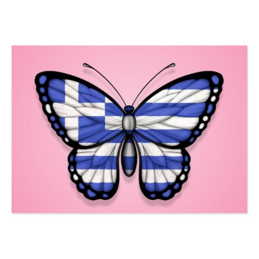 Greek Butterfly Flag on Pink Business Card Template
