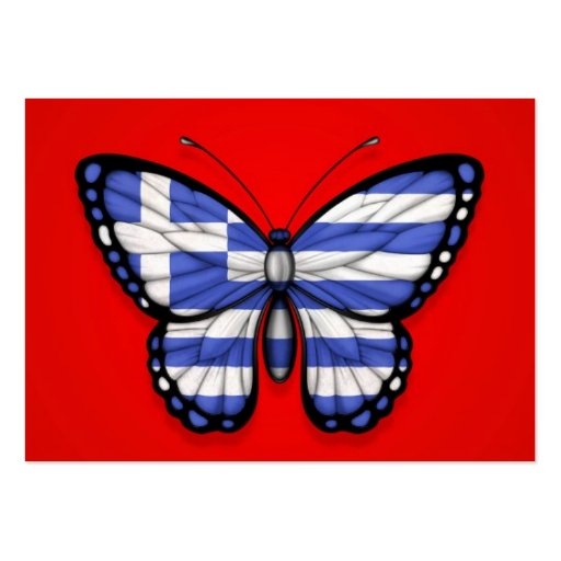 Greek Butterfly Flag on Red Business Card