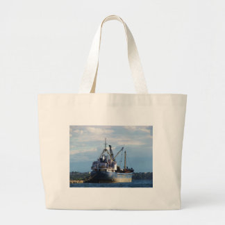 Greek cargo ship in the islands. tote bag