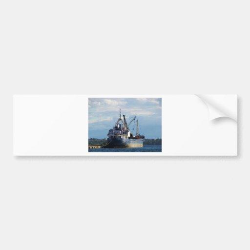 Greek cargo ship in the islands. bumper stickers