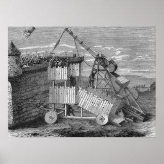 "Greek Catapult engraving poster 21"" x 28"""