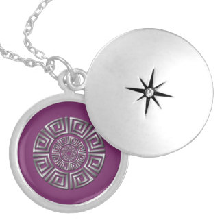 Greek Circle Drawing Silver Plated Necklace