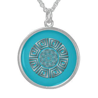 Greek Circle Motif Sterling Silver Necklace