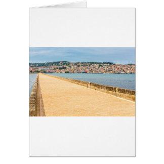 Greek City Port Argostoli with road on bridge Card