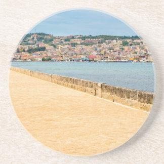 Greek City Port Argostoli with road on bridge Coaster