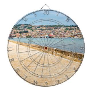 Greek City Port Argostoli with road on bridge Dartboard