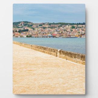 Greek City Port Argostoli with road on bridge Plaque
