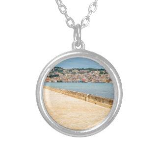 Greek City Port Argostoli with road on bridge Silver Plated Necklace