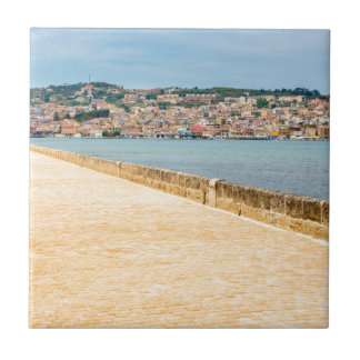 Greek City Port Argostoli with road on bridge Small Square Tile