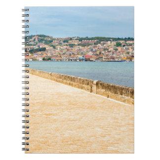 Greek City Port Argostoli with road on bridge Spiral Notebook